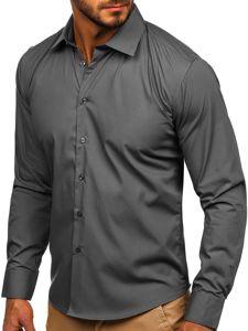 Hnědá pánská elegantní košile s dlouhým rukávem Bolf 0001