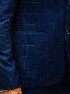 Inkoustově modrý pánský kostkovaný oblek s vestou Bolf 18200