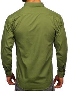 Khaki pánská elegantní košile s dlouhým rukávem Bolf 0003