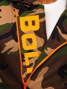 Khaki pánská maskáčová mikina s kapucí a potiskem Bolf 01