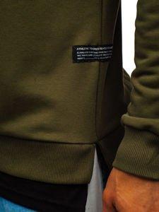 Khaki pánská mikina bez kapuce s potiskem Bolf 11115