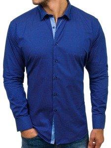 Kobaltová pánská vzorovaná košile s dlouhým rukávem Bolf TS102