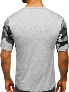 Maskáčovo-šedé pánské tričko s potiskem Bolf 6308