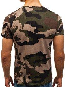 Maskáčovo-zelené pánské tričko s potiskem Bolf 2100