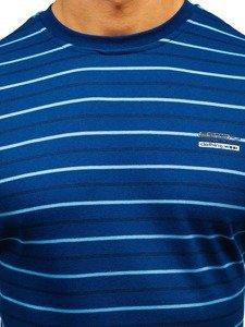 Modré pánské proužkované tričko s dlouhým rukávem Bolf 1519-A