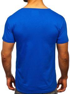 Modré pánské tričko s potiskem Bolf KS2017