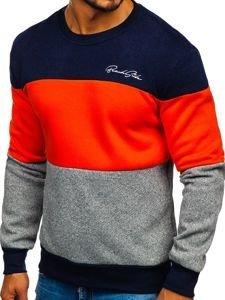 Oranžová pánská mikina bez kapuce s potiskem Bolf KS1900
