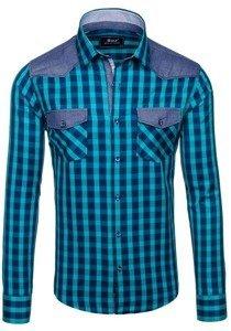 Pánská mořská kostkovaná košile s dlouhým rukávem Bolf 6904
