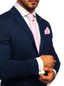 Pánská sada kravata, manžetové knoflíčky, růžový kapesníček Bolf KSP01