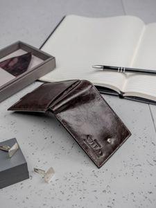 Pánská tmavě hnědá kožená peněženka 3187