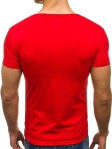 Pánské červené tričko bez potisku s výstřihem do V Bolf 2007