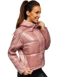 Růžová dámská oboustranná prošívaná přechodová bunda s kapucí Bolf B9553
