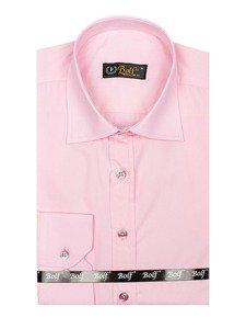 Růžová pánská elegantní košile s dlouhým rukávem Bolf 1703