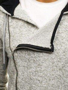 Šedá pánská dlouhá mikina na zip s kapucí Bolf 171693