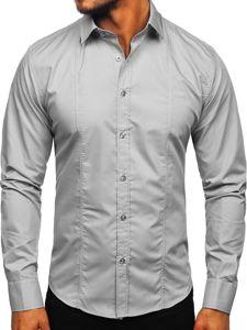 Šedá pánská elegantní košile s dlouhým rukávem Bolf 6944