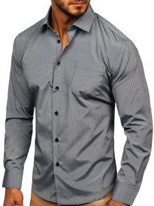Šedá pánská elegantní proužkovaná košile s dlouhým rukávem Bolf NDT10