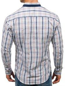 Šedá pánská kostkovaná košile s dlouhým rukávem Bolf 8809