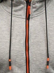 Šedá pánská mikina na zip s kapucí Bolf DD80