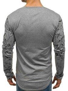 Šedé pánské tričko s dlouhým rukávem a potiskem Bolf SX022