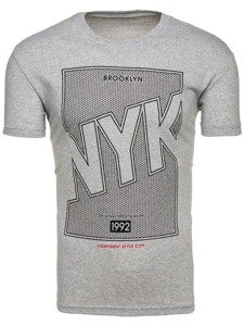 Šedé pánské tričko s potiskem Bolf 0007