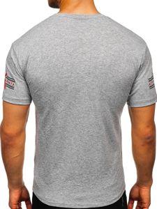 Šedé pánské tričko s potiskem Bolf 14312
