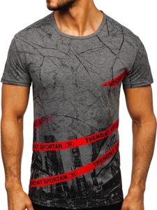 Šedé pánské tričko s potiskem Bolf SS10912