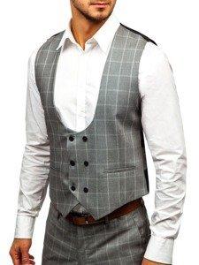Šedý pánský kostkovaný oblek s vestou Bolf 18200