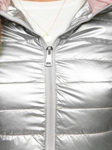 Stříbrná dámská prošívaná přechodová bunda s kapucí Bolf R9546