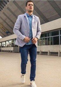 Stylizace č. 188 - ležérní sako, elegantní pánská košile, chino kalhoty, obuv