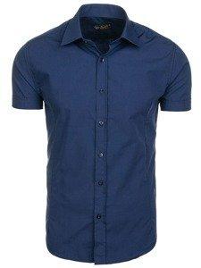 Světle tmavomodrá pánská elegantní košile s krátkým rukávem Bolf 7501