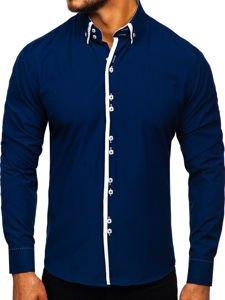 Tmavě modrá pánská košile s dlouhým rukávem Bolf 1721-1
