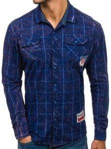 Tmavě modrá pánská kostkovaná košile s dlouhým rukávem Bolf 2506