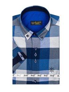 Tmavě modrá pánská kostkovaná košile s krátkým rukávem Bolf 5532