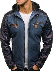 Tmavě modrá pánská koženková bunda Bolf ex369