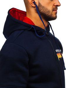 Tmavě modrá pánská mikina na zip s kapucí a se sluchátky Bolf HY611