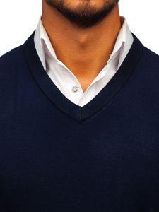Tmavě modrá pánská pletená vesta Bolf W01