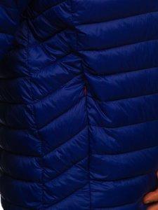 Tmavě modrá pánská přechodová prošívaná bunda s kapucí Bolf 13022