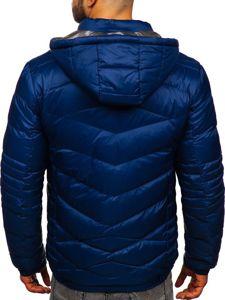 Tmavě modrá pánská prošívaná sportovní zimní bunda Bolf 50A223
