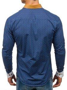Tmavě modrá pánská vzorovaná košile s dlouhým rukávem Bolf 8805