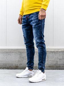 Tmavě modré pánské džínové jogger kalhoty Bolf KK1062