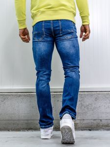 Tmavě modré pánské džíny straight leg s opaskem Bolf KA1767