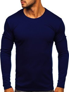 Tmavě modré pánské tričko s dlouhým rukávem bez potisku Bolf 2088L