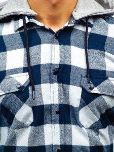 Tmavě modro-bílá pánská flanelová košile s dlouhým rukávem Bolf 1031