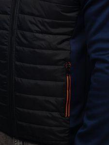 Tmavě modro-černá pánská sportovní přechodová bunda Bolf KS1882
