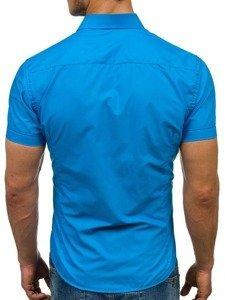 Tyrkysová pánská elegantní košile s krátkým rukávem Bolf 7501
