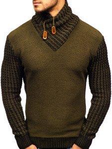 Zelený vzorovaný pánský svetr Bolf 2010
