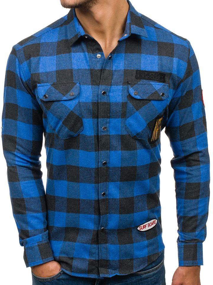 711b31ddee0 Modrá pánská flanelová košile s dlouhým rukávem Bolf 2503