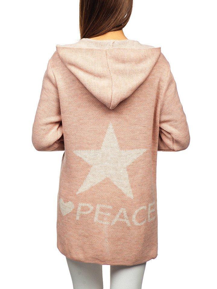 Růžový dámský svetr kardigan Bolf 05 c6616f4704