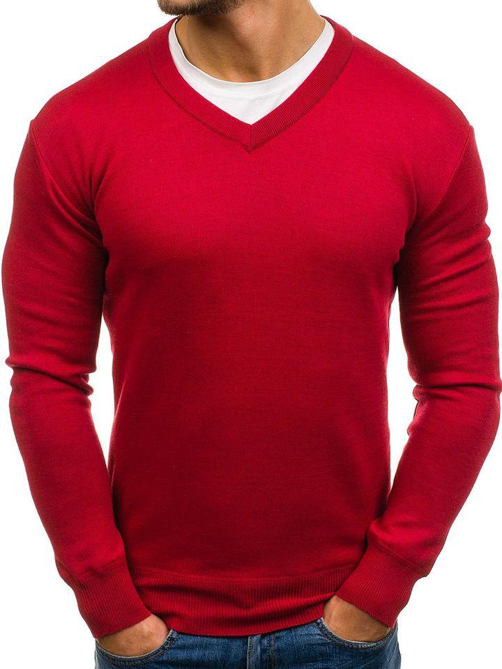 389fc6187da Červený pánský svetr s výstřihem do V Bolf s001