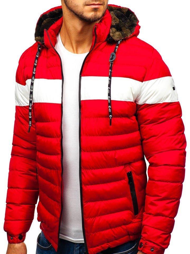 e69660e45b8 Červená pánská zimní bunda Bolf A410